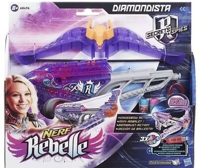 Girls Nerf Rebelle Diamondista Crossbow Toy - Brand New - Bullets Included