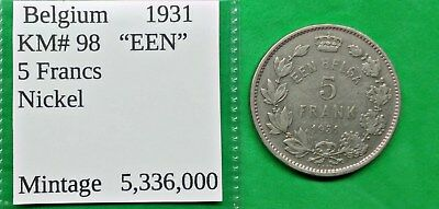 "World Foreign Old Belgium 1931 Coin 5 francs ""EEN""  KM#98 !!"