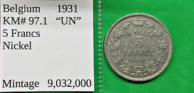 "World Foreign Old Belgium 1931 Coin 5 francs ""UN""  KM#97.1 !!"