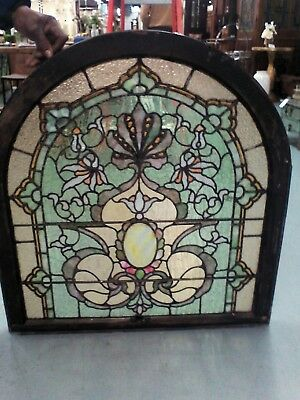 ANTIQUE STAIN  GLASS ARCH WINDOW VICTORIAN ORNATE MULTI COLOR 19th C WINDOW