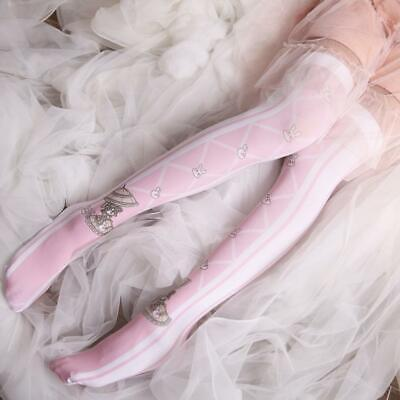 Lolita Cute Rabbit Printed Over Knee Stockings White High Tube Socks For Women