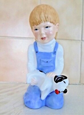 Rare Renaissance Childsplay Figure with Puppy  Made in England Doulton??
