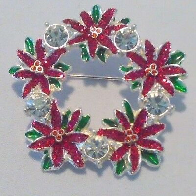 Red Glitter Poinsettias With Clear Rhinestones Silver Tone Wreath Fashion Pin