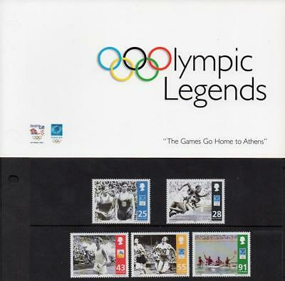 ISLE of MAN MNH 2004 SG1152-56 Olympic Legends, Presentation Pack