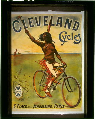 Cleveland Cycles,Bicycle,Advertisement,Indians of North America,1897,Horseback
