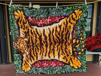 Antique Victorian Chase Sleigh Blanket/Buggy Tiger Jungle Glass Eyes Design
