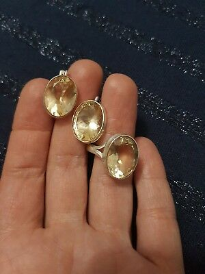 925 Silver And Citrine Earrings And Ring Set. Ring Size O.