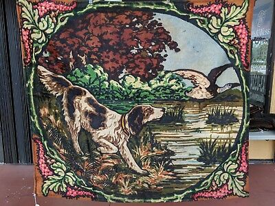 Antique Victorian Chase Sleigh Blanket/Buggy Blanket Dog Hunting Duck Lake