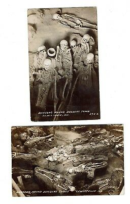 Lewistown, IL  RPPC Dickson's Indian Mound Builders Tomb  Two Uposted DOPS cards