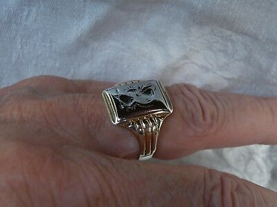 Vintage Solid 18K White Gold Intag,10K(gf)Shank Men Ring SZ10.75 Sterling