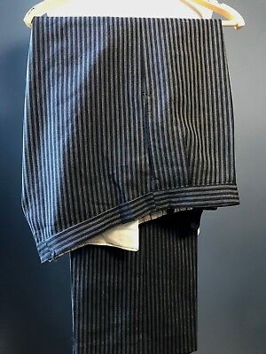 Vintage 1940's bespoke pleated morning trousers size 40 42