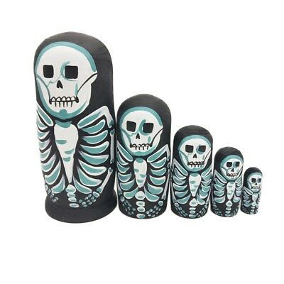 5Pcs Cute Nesting Dolls Skeleton Russian Stacking Dolls Collection Toy Doll set