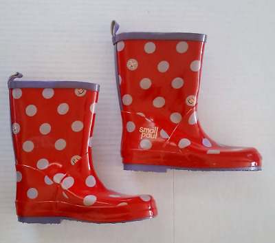 PAUL FRANK Kids Rain BOOTS Size Large 11/12 Red w/ Dots New Small Paul Retired