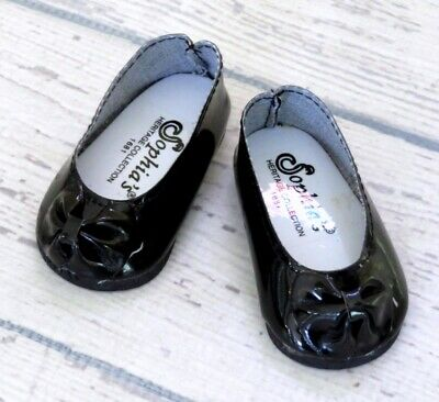 Black Patent Dress Shoes Ballet Flats with Bow fits 18 inch American Girl Dolls