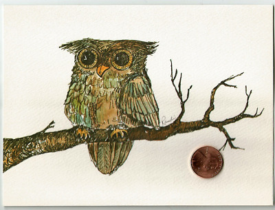 VINTAGE Beautiful Owl Branch Adorable Art - Large Blank Note Greeting Card - NEW