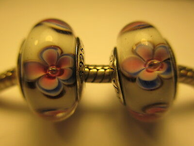 2 Pandora Silver 925 Ale Pink Flowers Daisy White Murano Glass Beads Charms New