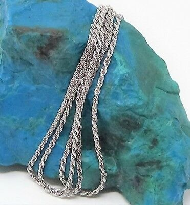 "Vintage Italian, Tested Solid Sterling Silver 29"" Long Rope Chain Necklace"