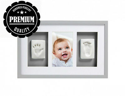 Pearhead Babyprints Handprint and Footprint Deluxe Wall Keepsake Frame with...
