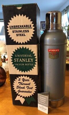 Vintage Stanley Universal Vacuum Thermos Bottle with Cork N945 in Box W/ Booklet