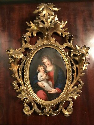 Antique 19 Century Miniature Painting On Porcelain Ornate Gold Frame KPM style
