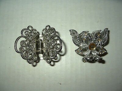 2 Vintage Silvertone & Gold Crystal Butterfly Hair Barrette Clips