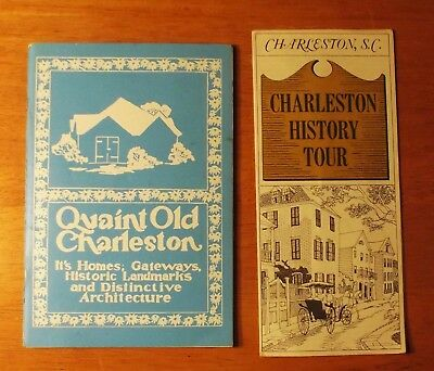 2 Vintage Charleston, SC Brochures: Quaint Old Charleston & History Tour