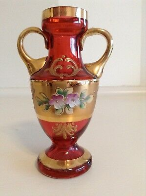Vintage Small Murano Ruby And Gold Venetian Glass Vase With Enamel Flowers.