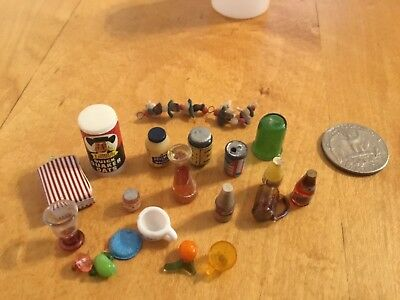 Vintage Dollhouse Miniature Food Groceries Large Mixed Lot Variety