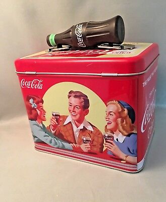 Coca-Cola Tin Box with Coke Bottle Handle Lunch Box / Storage Tin Container