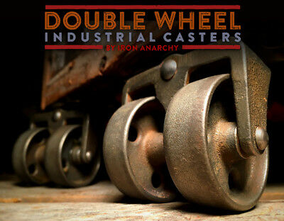 Vtg FACTORY CART CASTERS, Antique Cast Iron Industrial Coffee Table Metal Wheel