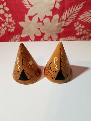 TEEPEE shaped Salt and Pepper shakers wooden corks Colorado Springs