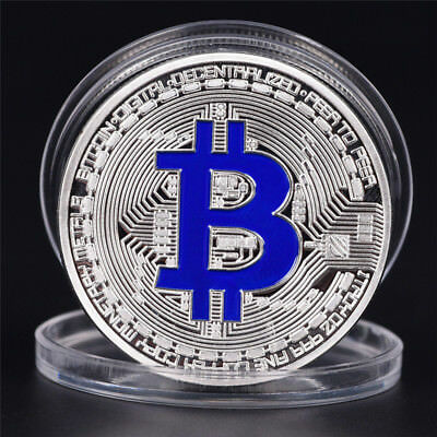 Silver Bitcoin Commemorative Round Collectors Coin Bit Coin SilverPlatedCoins LR
