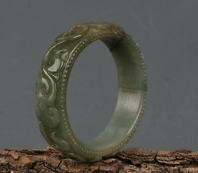 Chinese Exquisite Hand-carved Lingzhi carving jadeite jade bracelet