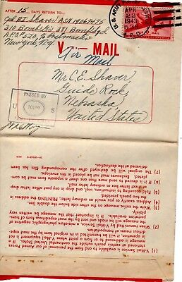 V-Mail letter passed Army Examiner.  Cancelled April 22, 1943 APO 538 with C25 a