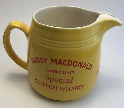 Vintage Sandy Mac Scotch Whisky Ceramic Water Pitcher Jug Mug Barware Rare