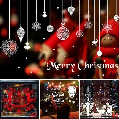 Merry Christmas Wall Stickers Decoration New Year Tree Santa Window Vinyl Decal