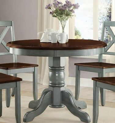 Farmhouse Dining Table Round French Country Kitchen Rustic Dinning Blue Green