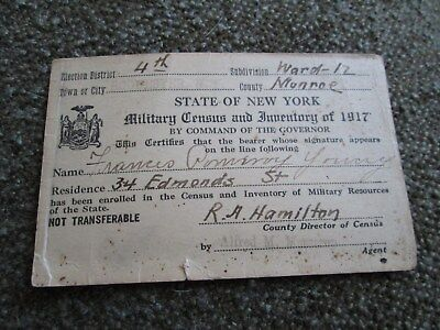 World War 1 Military Census and Inventory of 1917 Card