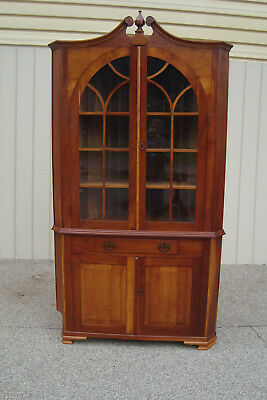 59506  Quality Custom built Solid Cherry corner china cabinet Curio