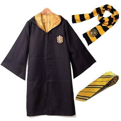 Harry Potter Adults KIDS Hufflepuff  Robe Cloak Costume Cape Tie Scarf Cosplay