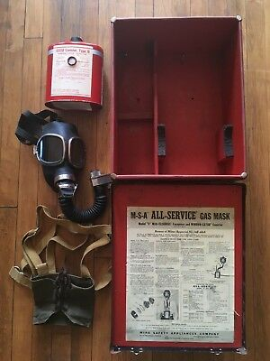 Antique MSA universal permissible gas mask w/harness and window-cator canister
