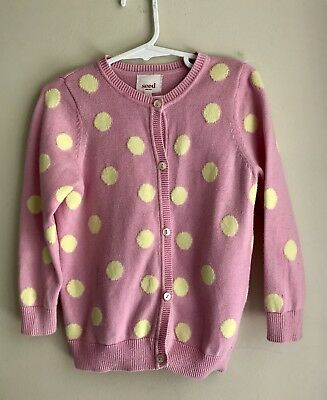 Seed Girls Polka Dot Pink And Yellow Knit Cardigan Size 2 - 3