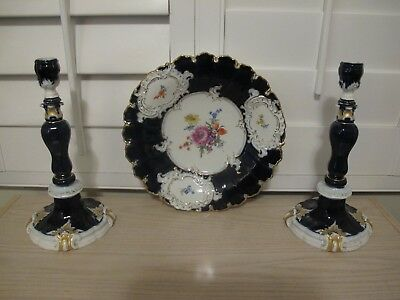 Beautiful Antique Trio Of Cobalt Gilded Charger And Pair Of Candlesticks