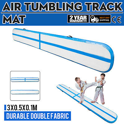 10Ft Air Track Floor Tumbling Inflatable Gym Mat 1.2Mm PVC Blue Gymnastic UK
