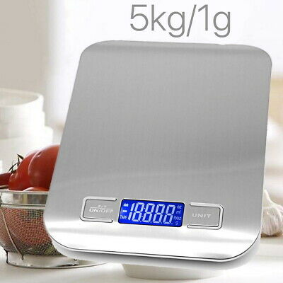 5kg/1g Digital LCD Electronic Kitchen Cooking Food Shop Weighing Scales Silver