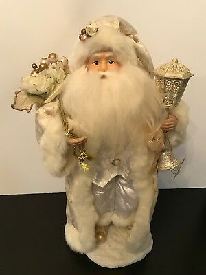 SANTA CLAUS Figurine in Ivory / Cream / White / Gold Colors -- 16 Inches Tall