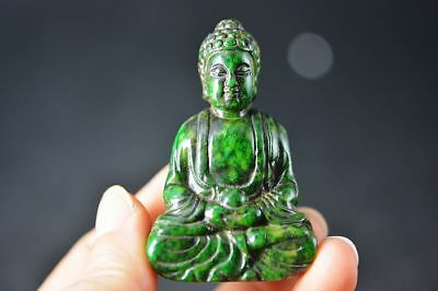 Unique Chinese old green jade carved Buddha statue/pendant F89