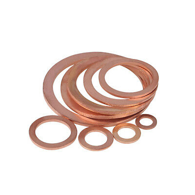 20×Copper Flat Ring Oil Drain Plug Crush Washer Gaskets Thick 1mm Various Sizes