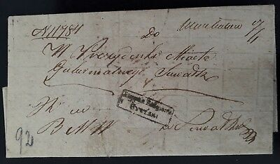 RARE Undated Poland Pre-stamp Folded Document with Judicial boxed cancel