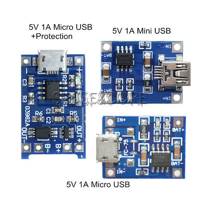 2/5/10PCS 5V 1A Mini/Micro USB 18650 Lithium Battery Charger Board Module TP4056